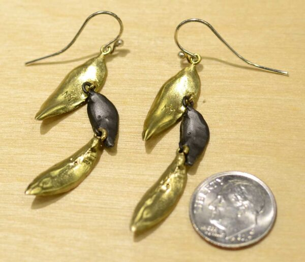 Michael Michaud Silver Seasons Persian shield leaf earrings back view