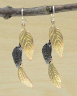Michael Michaud Silver Seasons Persian shield leaf dangle earrings
