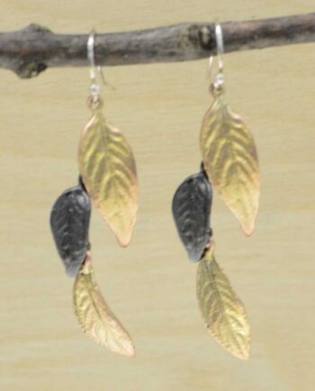 Michael Michaud Silver Seasons Persian shield leaf dangle earrings