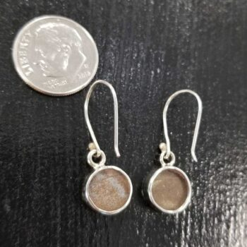 back of blue morpho earrings with dime for scale