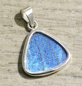 handmade bright blue butterfly wing and sterling silver triangle pendant