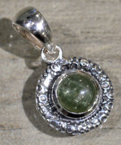 small light green tourmaline and sterling silver pendant