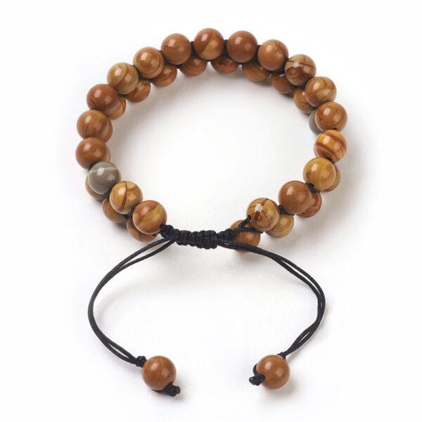 backside of petrified wood unisex bracelet