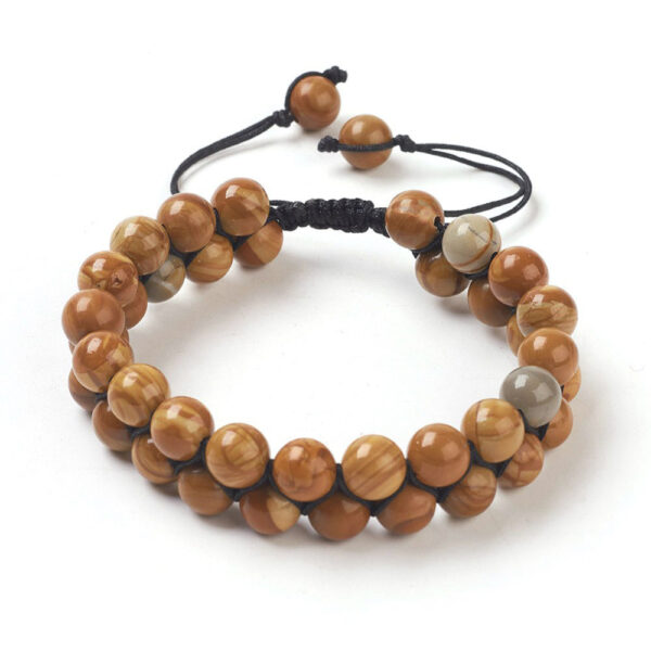 Petrified wood bracelet with adjustable knot to fit both men and women