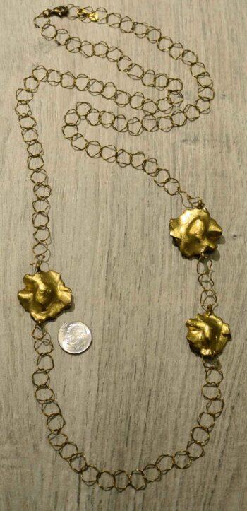 Michael Michaud Silver Seasons long Petunia flower necklace back view