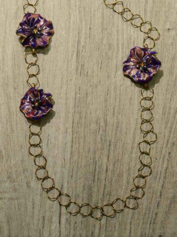 Michael Michaud Silver Seasons long Petunia flower necklace close up
