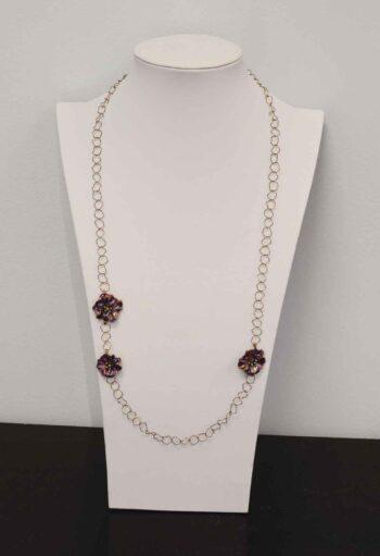 Michael Michaud Silver Seasons long Petunia flower necklace