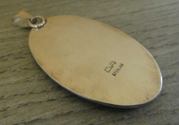Handmade large oval picasso jasper and sterling silver pendant back view