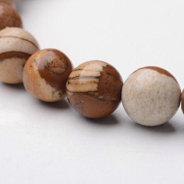 close up of picture jasper gemstone stretch bracelet