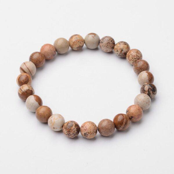 picture jasper gemstone stretch bracelet