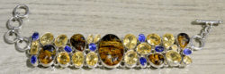 handmade pietercite, citrine, and kyanite statement bracelet