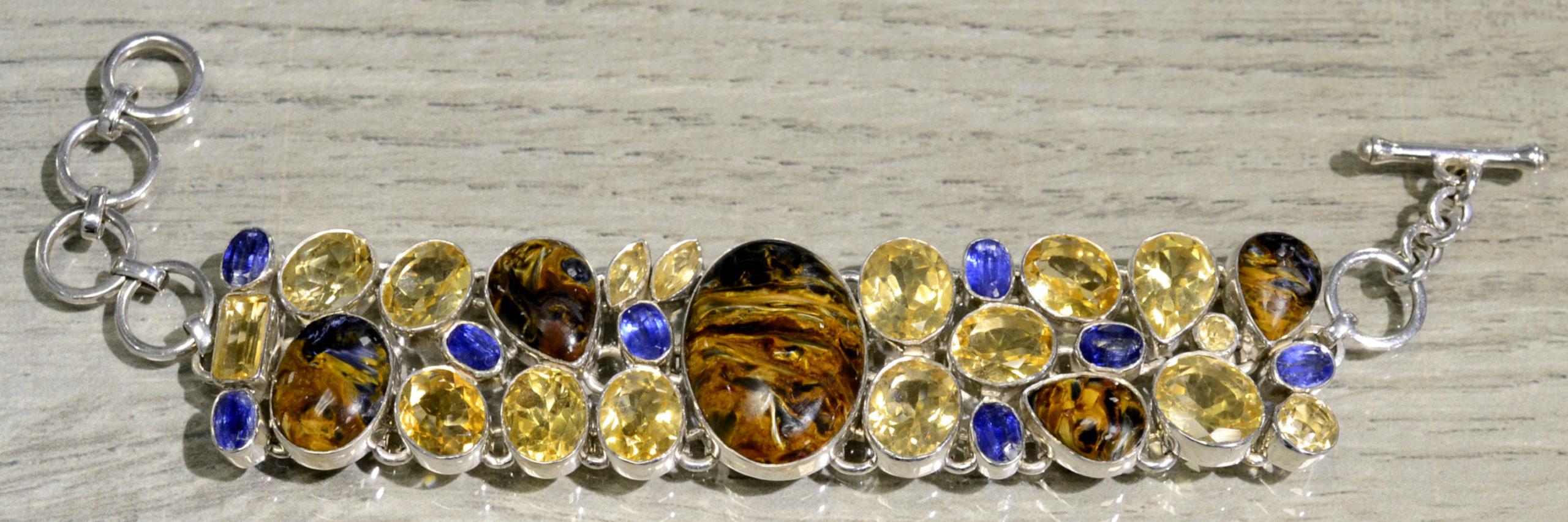 handmade pietercite, citrine, and kyanite statement bracelet