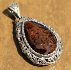 handmade Pietersite and sterling silver drop pendant with silverwork