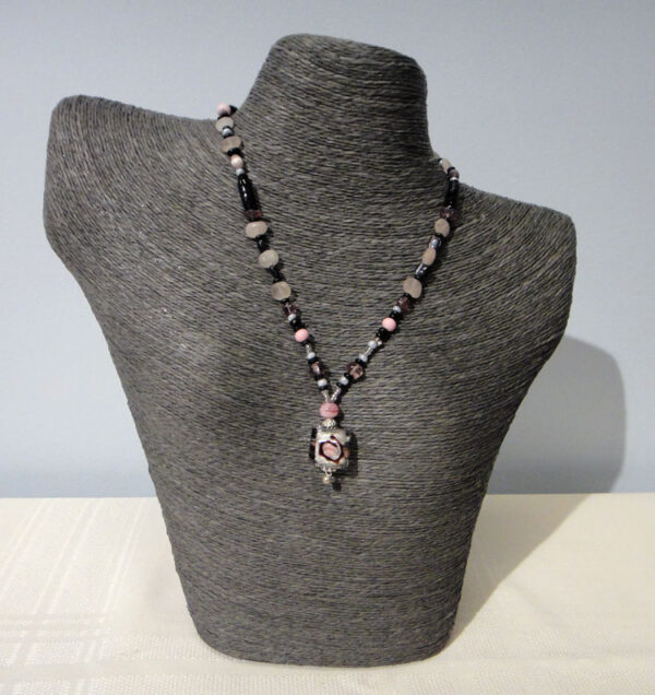 Handmade pink and black murano glass necklace