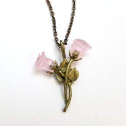 pink blushing rose pendant