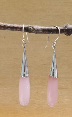 pink chalcedony gemstone earrings