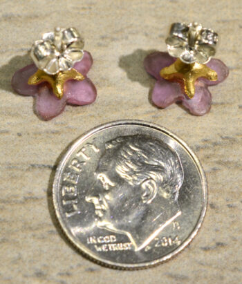 Reverse side of Pinkie Winkie flower earrings, shown with dime (not included) for scale