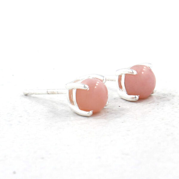 pink opal and sterling silver post earrings side view