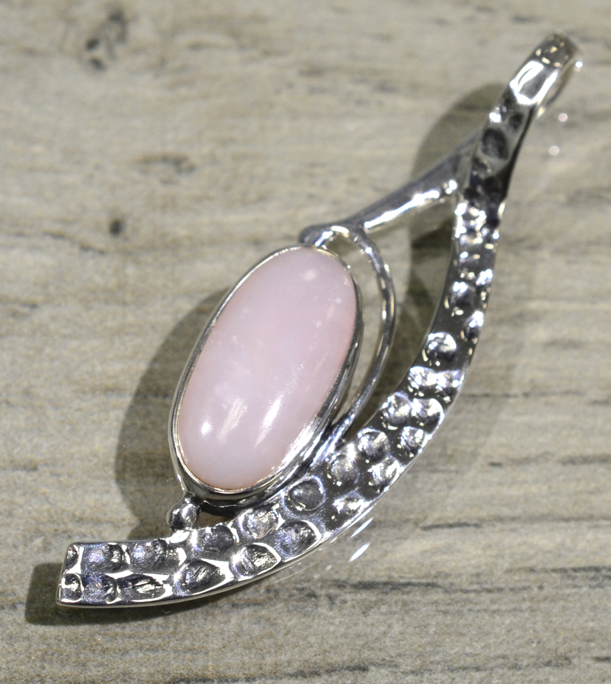 handmade pink opal freeform textured pendant