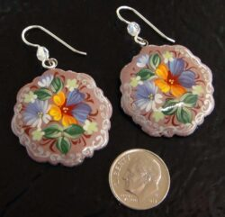 paper mache hand painted flower earrings with dime for scale