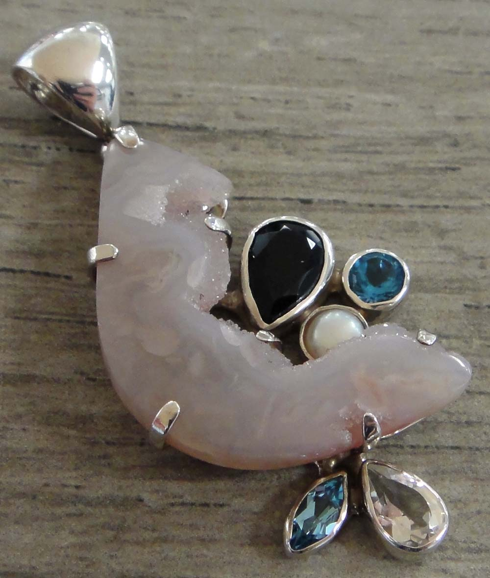 Pink Druzy pendant by Starborn Creations