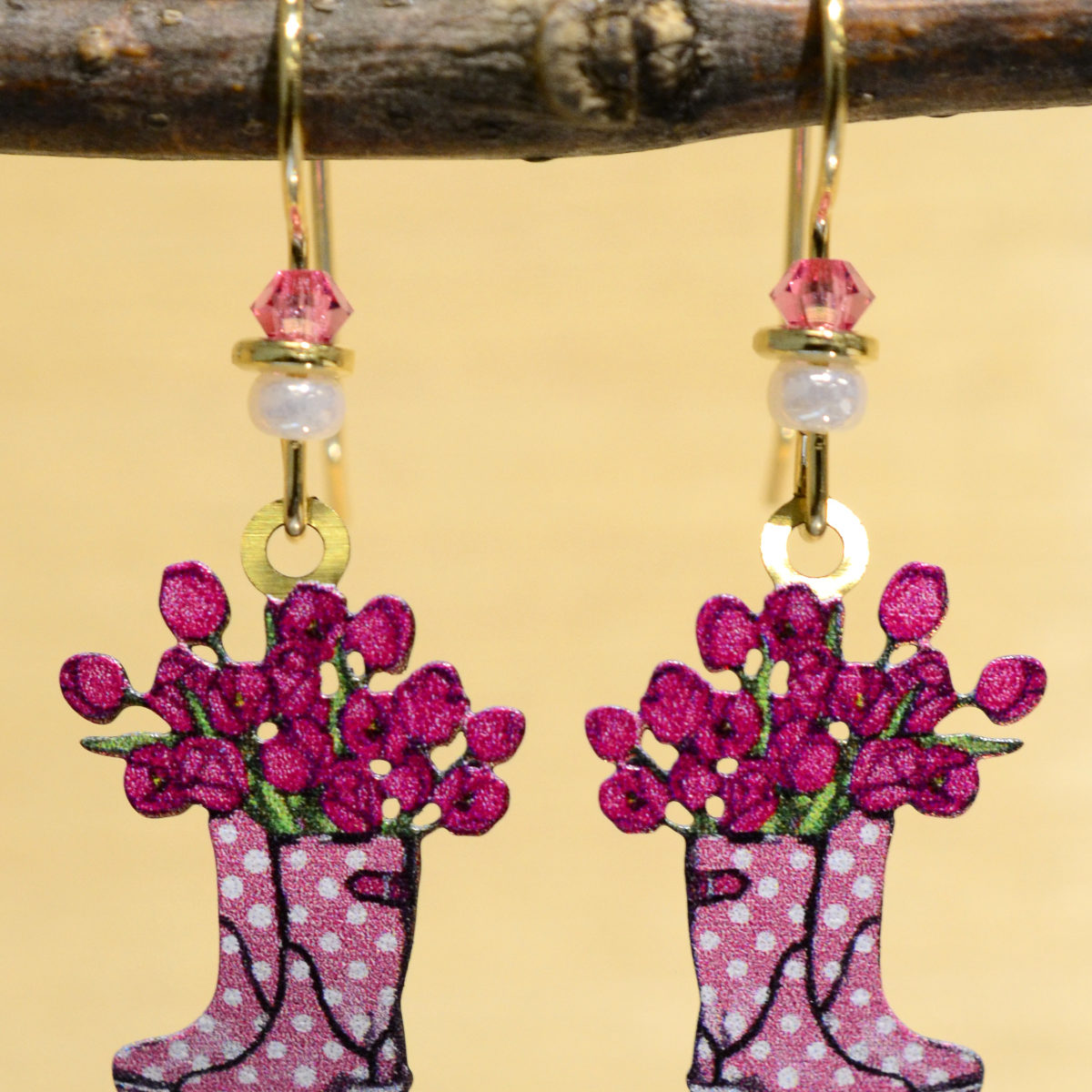 pink rain boots with pink flowers earrings