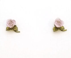 pink rose stud earrings by Michael Michaud