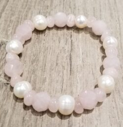 pink rose quartz and fresh water pearl stretch bracelet