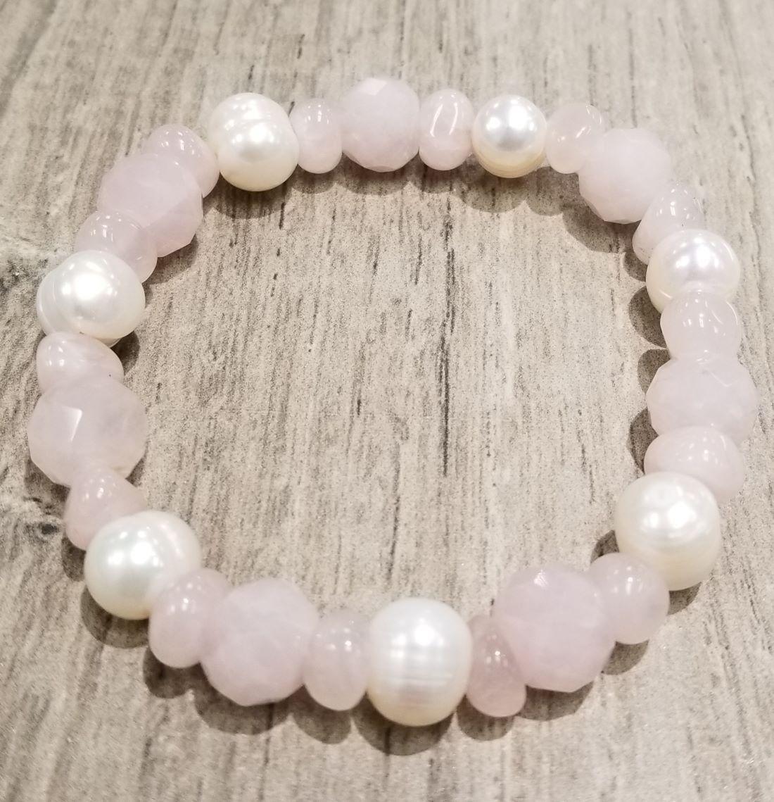 pink rose quartz and fresh water pearl stretch bracelet