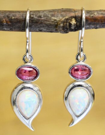 These created white opal and pink topaz earrings are handmade by Sonoma Art Works.