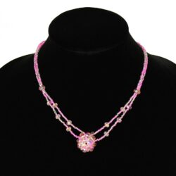 pink czech glass beaded two strand handmade necklace