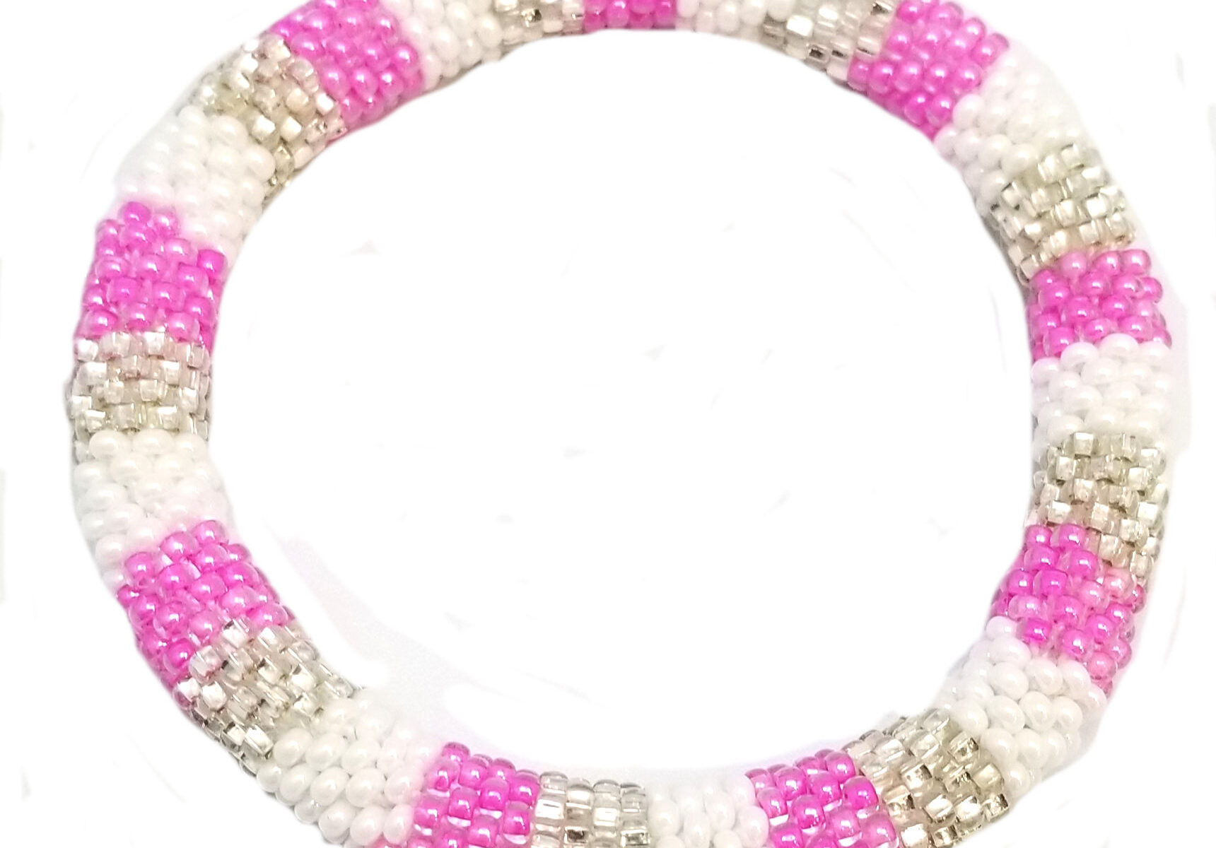 pink white and silvertone roll-on bracelet