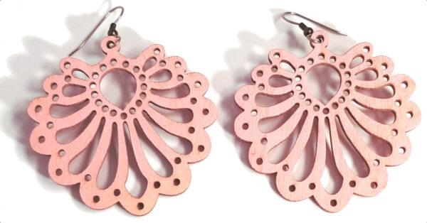 pastel pink wooden statement earrings