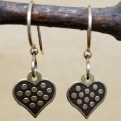 polka dot goldtone heart earrings