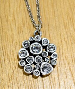 Patricia Locke Popcorn silvertone necklace style in All Crystal, close up