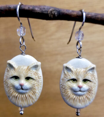 Porcelain cat and sterling silver dangle earrings