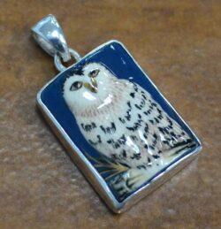 porcelain owl sterling silver pendant
