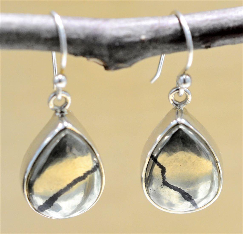 handmade polished pyrite drop earrings