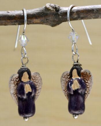 handmade purple ceramic angel dangle earrings