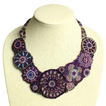 purple beaded statement necklace