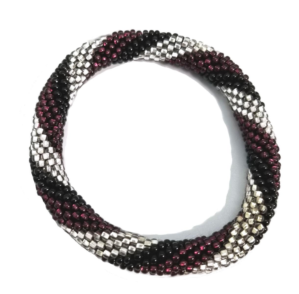 purple, black, and silver-tone Czech glass roll-on bracelet