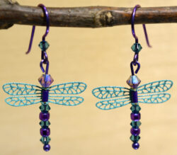 teal and purple beaded dragonfly Sienna Sky earrings