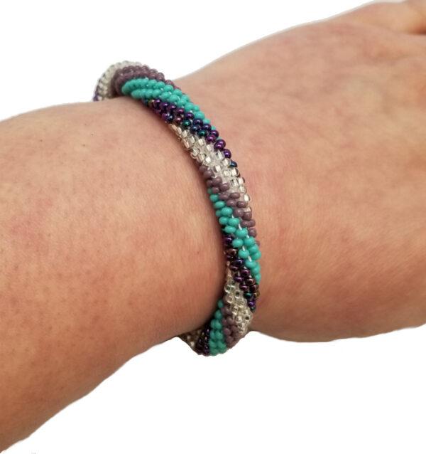Czech glass roll-on bracelet on hand