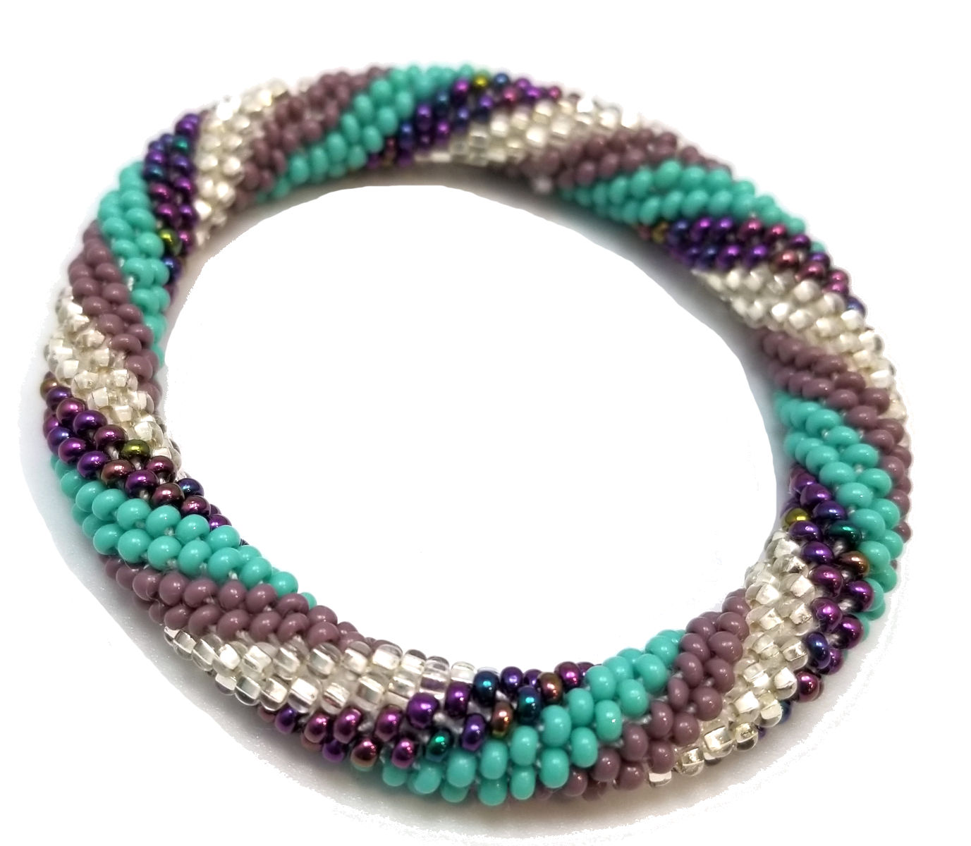 Czech glass seed bead roll-on bracelet in light and dark purple with blue and silver-tone