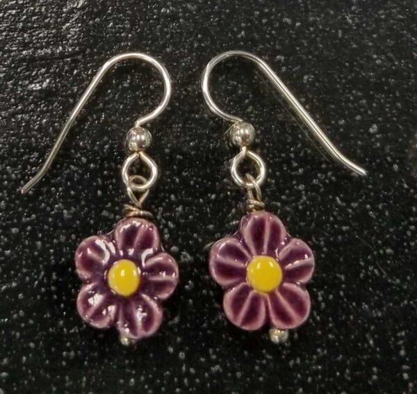purple and yellow ceramic daisy drop earrings