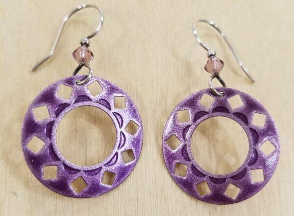 purple circle dangle earrings