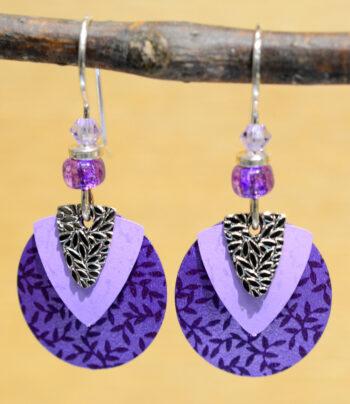 Adajio silvertone triangle on purple circle earrings