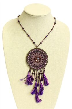 Handmade czech glass beaded purple dreamcatcher necklace