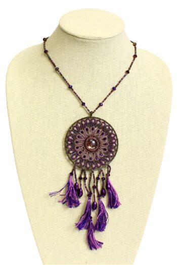 Handmade czech glass beaded purple dreamcatcher necklace