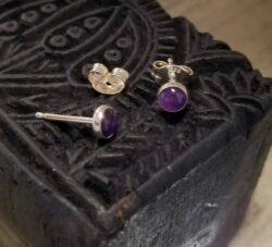 Tiny purple enamel stud earrings